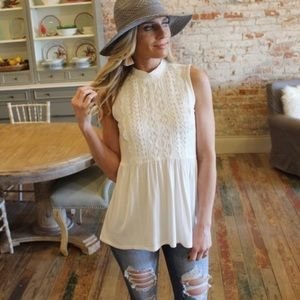 Ivory Sleeveless Knit Lace Front Tunic